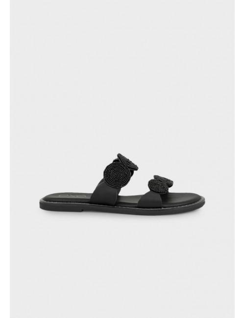 Γυναικείο παπούτσι flat EXE M47001121001  οικολογικό δέρμα ΜΑΥΡΟ
